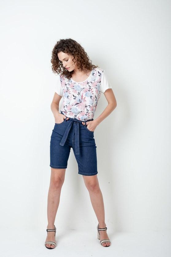 Bermuda Jeans Com Faixa Cós