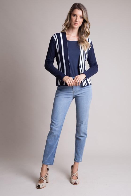 Blazer manga longa tricot multi listras azul marinho