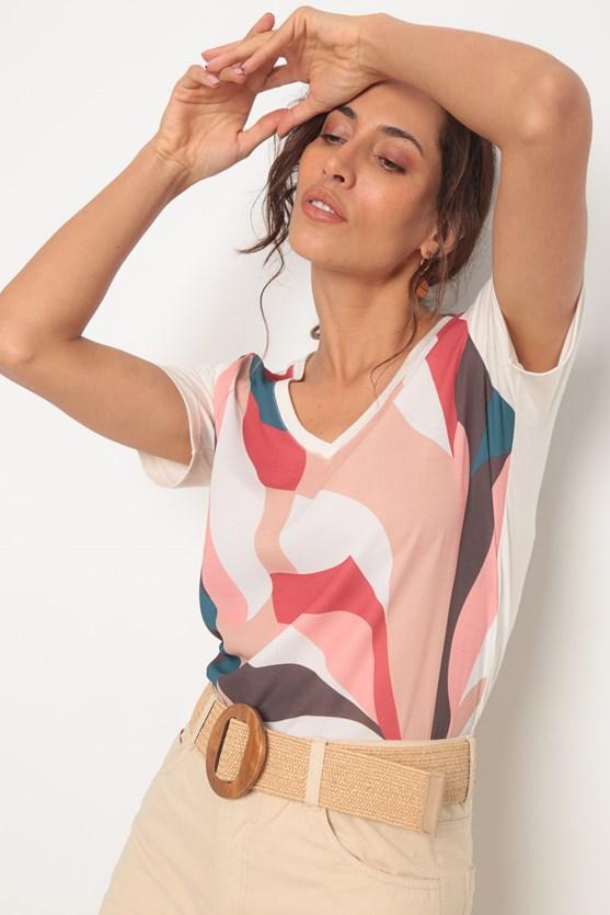 Blusa 2 em 1 natural abstrato bege