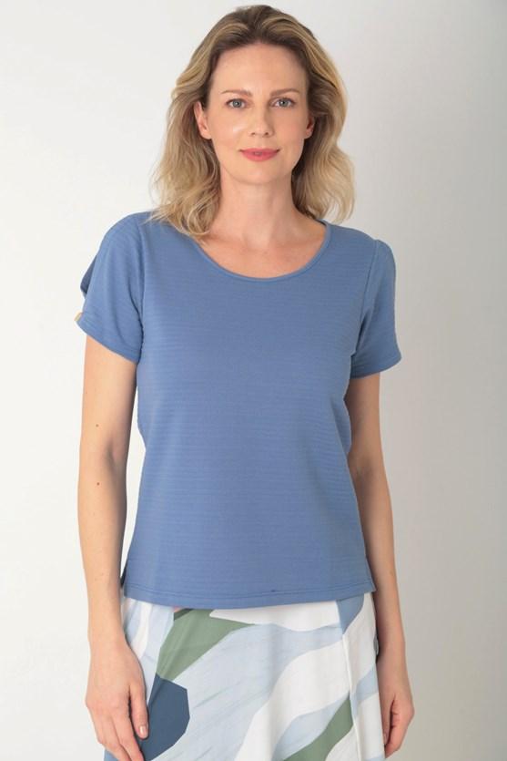 Blusa algodão transpasse manga azul