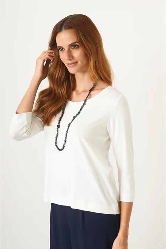 Blusa básica barra larga viscolycra off white