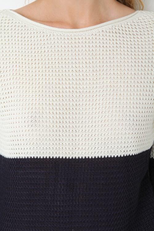 Blusa Bicolor Com Lurex Tricot