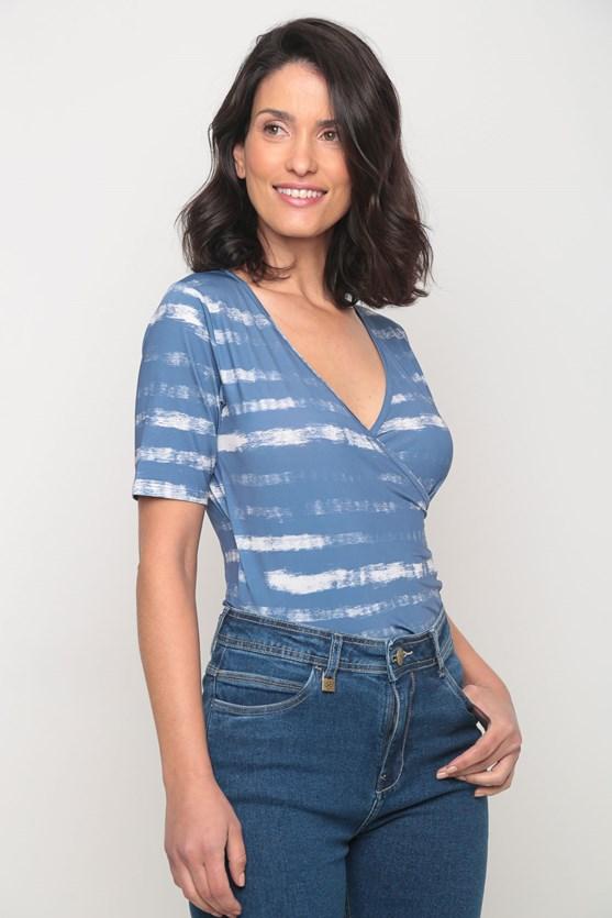 Blusa cachecouer jersey listras pinceladas azul