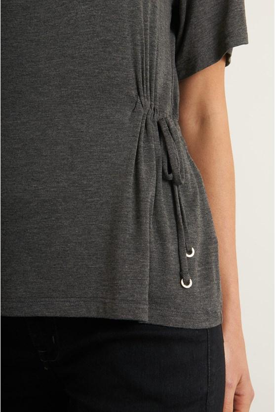 Blusa canaleta malha tricot cinza urban