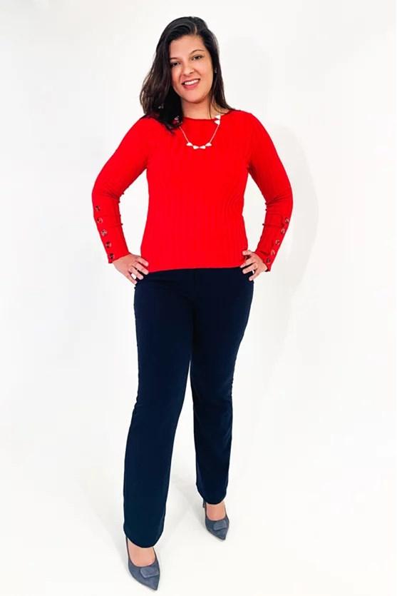 Blusa canelada manga botões vermelho