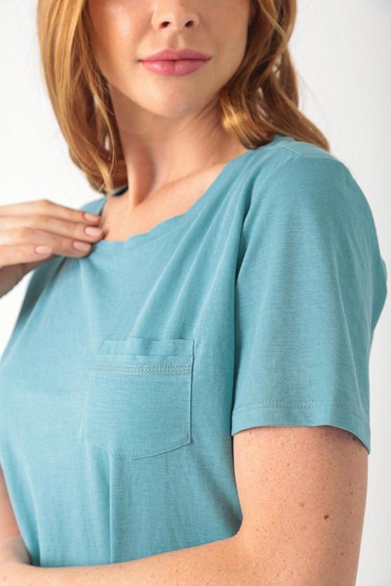 Blusa com bolso malha poliamida e viscose az turquesa