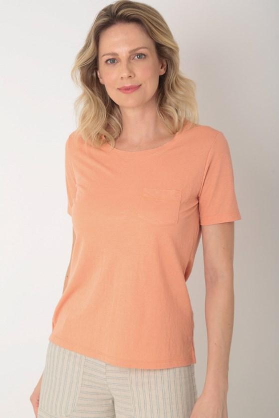Blusa com bolso malha poliamida e viscose laranja