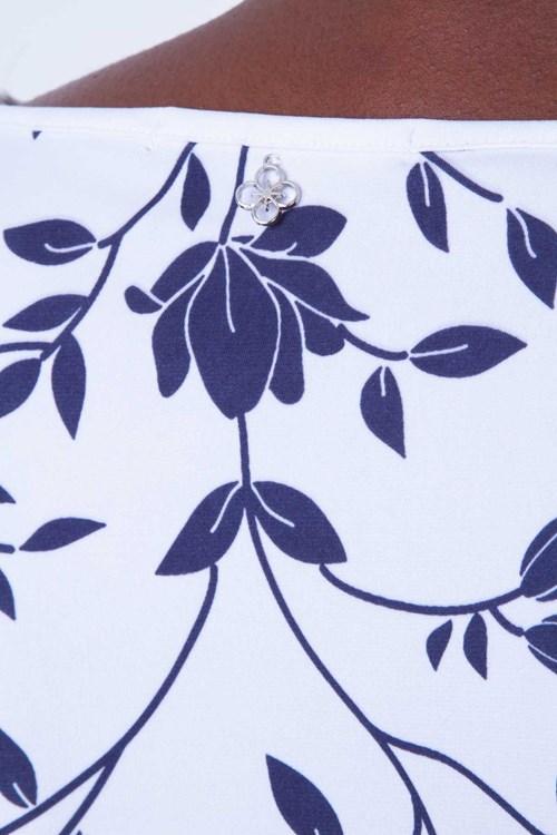 Blusa Costas Jersey Floral Bicolor
