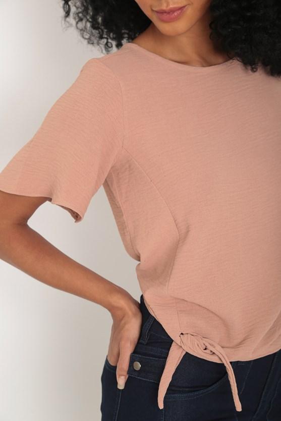 Blusa crepe amarração barra bege