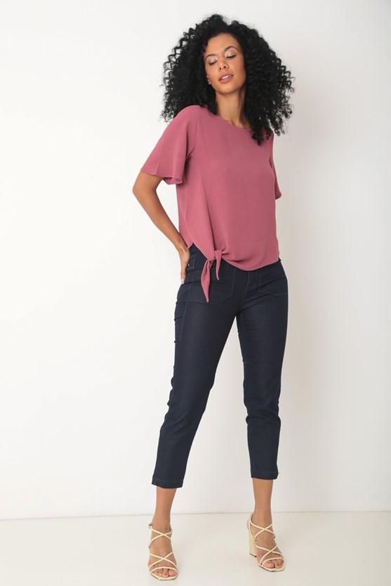 Blusa crepe amarração barra rosa