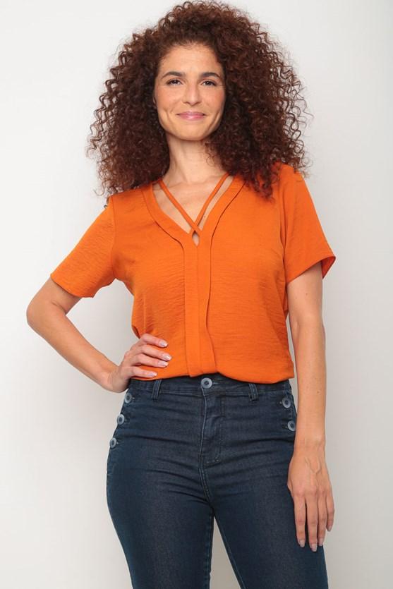 Blusa crepe manga curta prega centro laranja