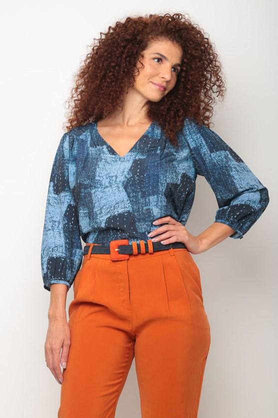 Blusa crepe ombro pregas nuances azuis azul marinho