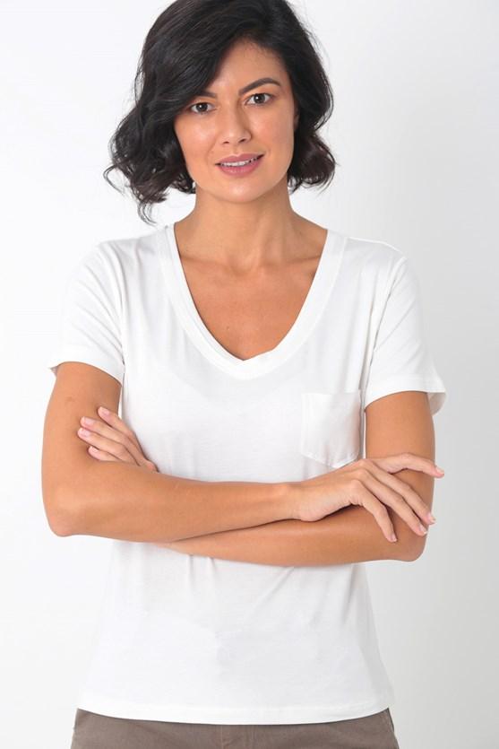 Blusa de malha decote v com bolso off white