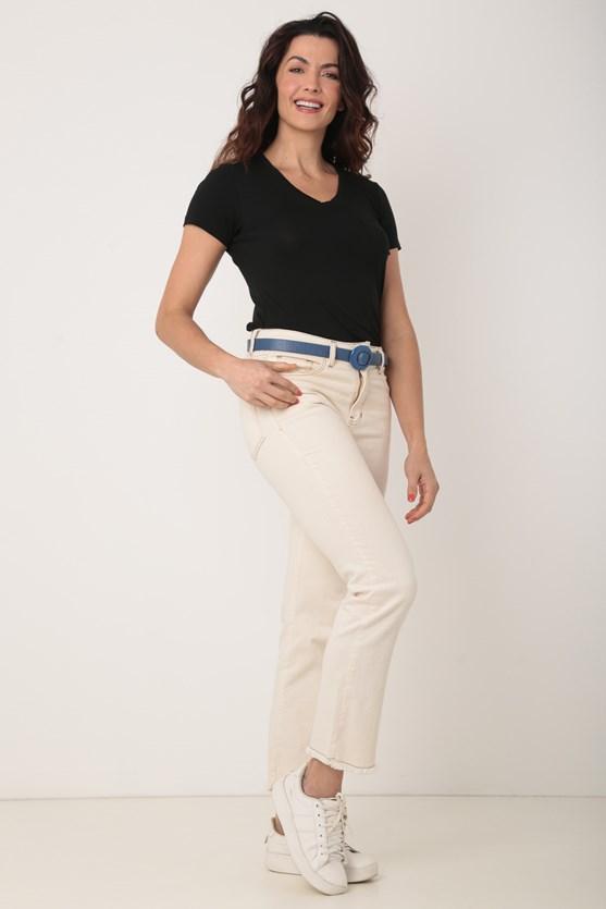 Blusa de malha decote v com bolso preto