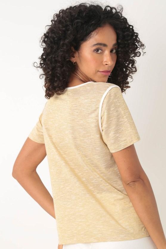 Blusa de malha lurex dourado
