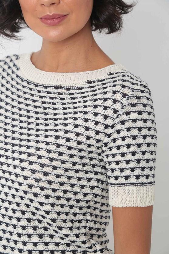 Blusa de tricot decote canoa off white