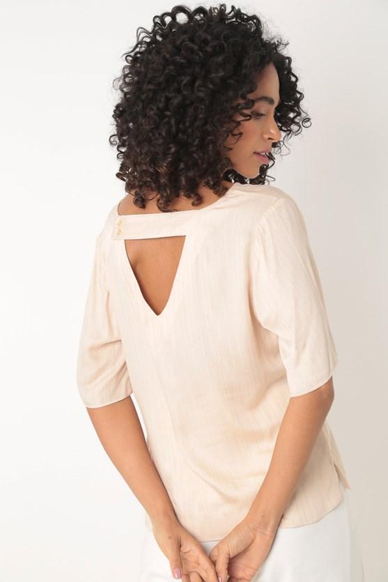 Blusa de viscose lurex bege