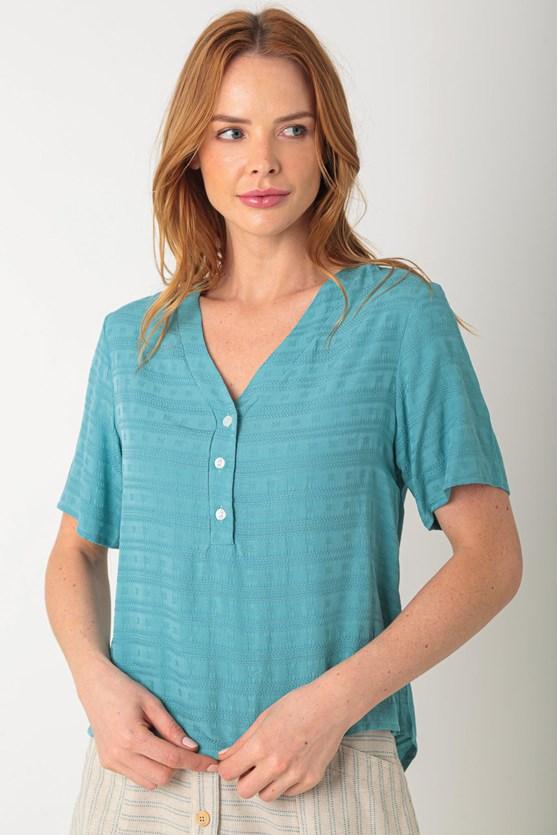 Blusa de viscose maquinetada turquesa