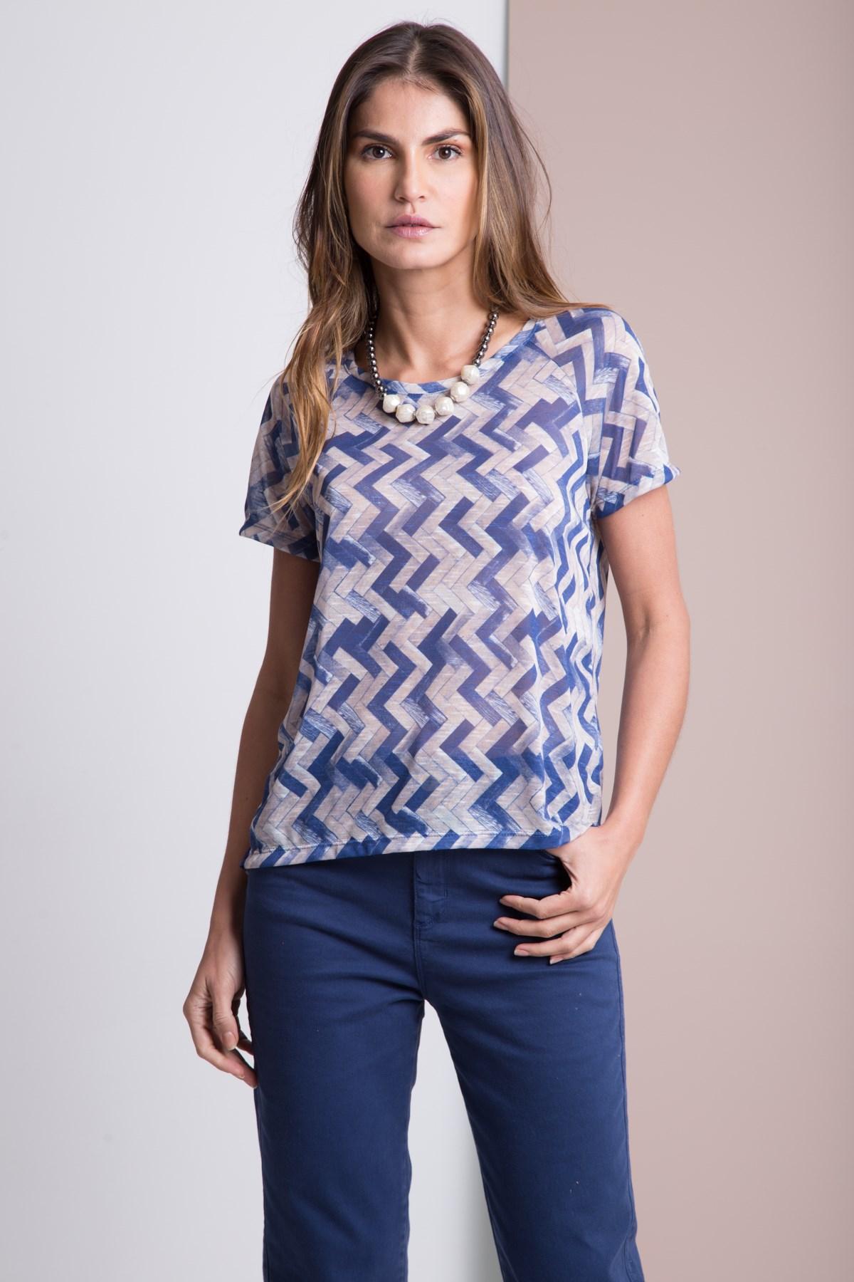 Blusa Decote Aplicado Malha Zig Zag