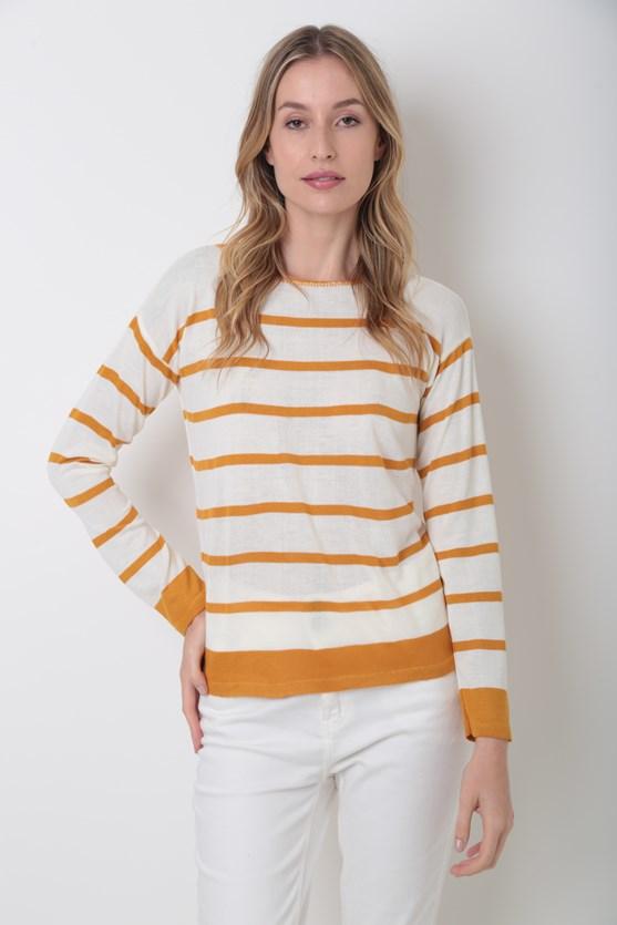 Blusa decote canoa listrada tricot off white