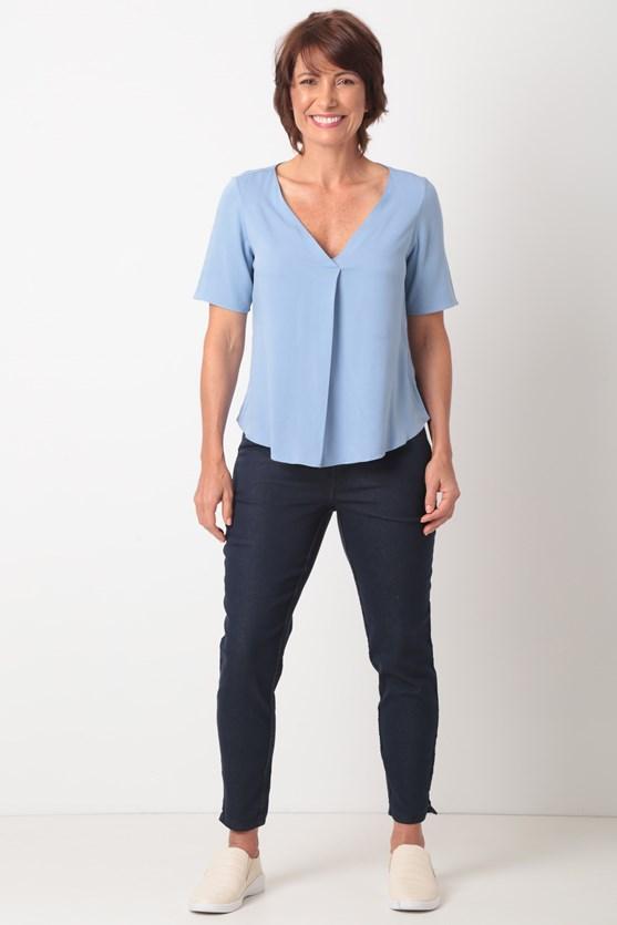 Blusa decote com prega viscose az jeans