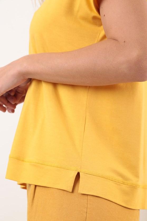 Blusa Decote Largo Trançadeiras Viscolycra