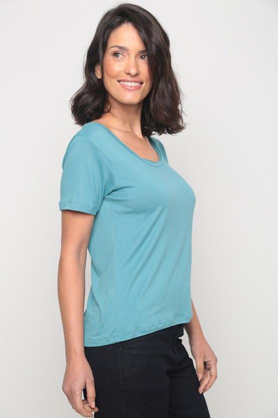 Blusa decote redondo manga curta azul