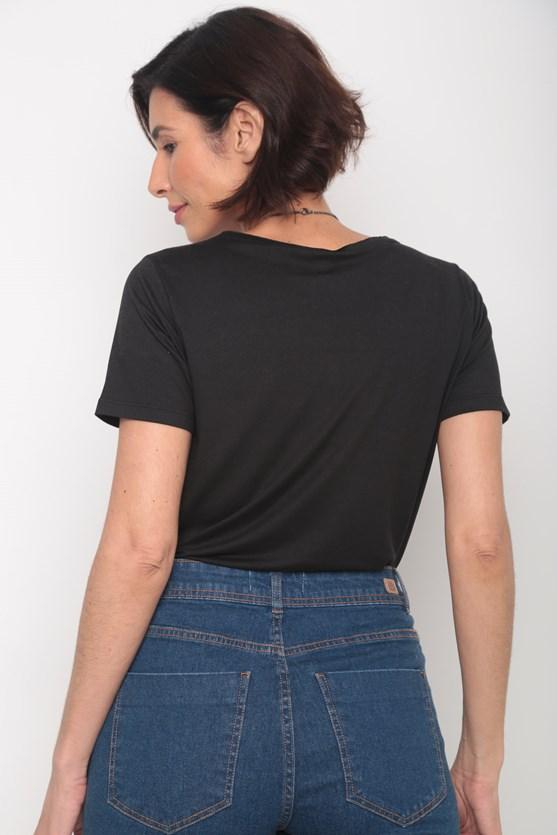 Blusa decote redondo manga curta preto