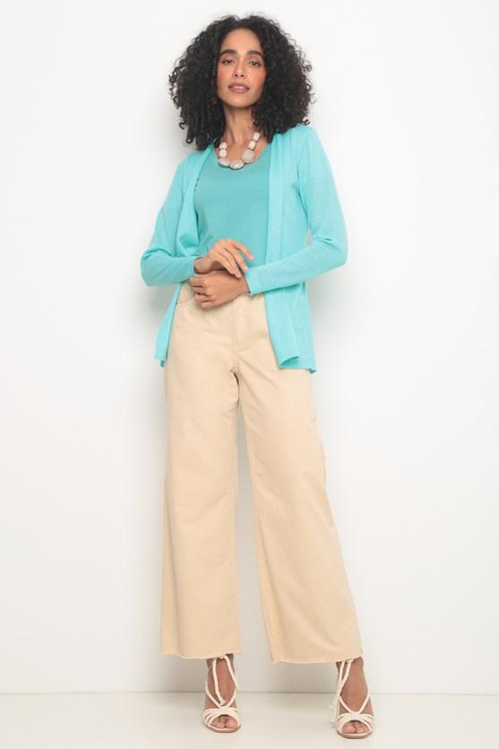 Blusa decote redondo manga curta verde claro