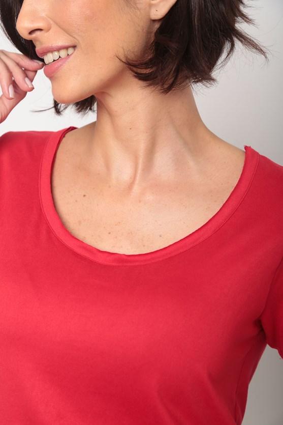 Blusa decote redondo manga curta vermelho