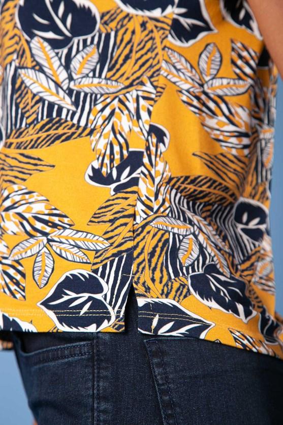 Blusa Decote Torcido Sem Manga Folhas Encantadas