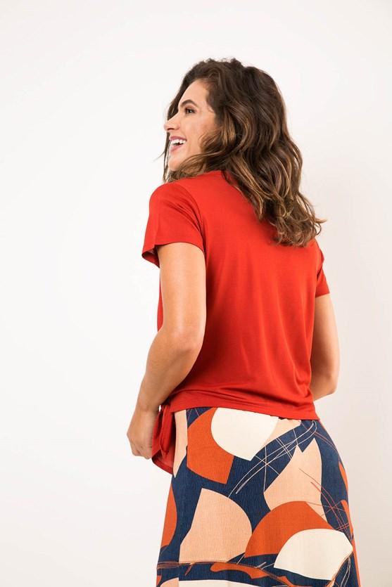 Blusa Decote U Amarração Na Barra Malha Viscose