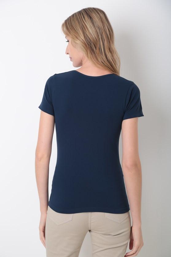 Blusa decote u básica azul marinho