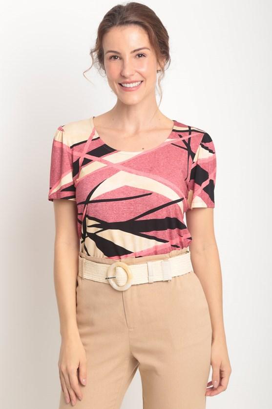 Blusa decote u gota costas estampa diversas rosa blush