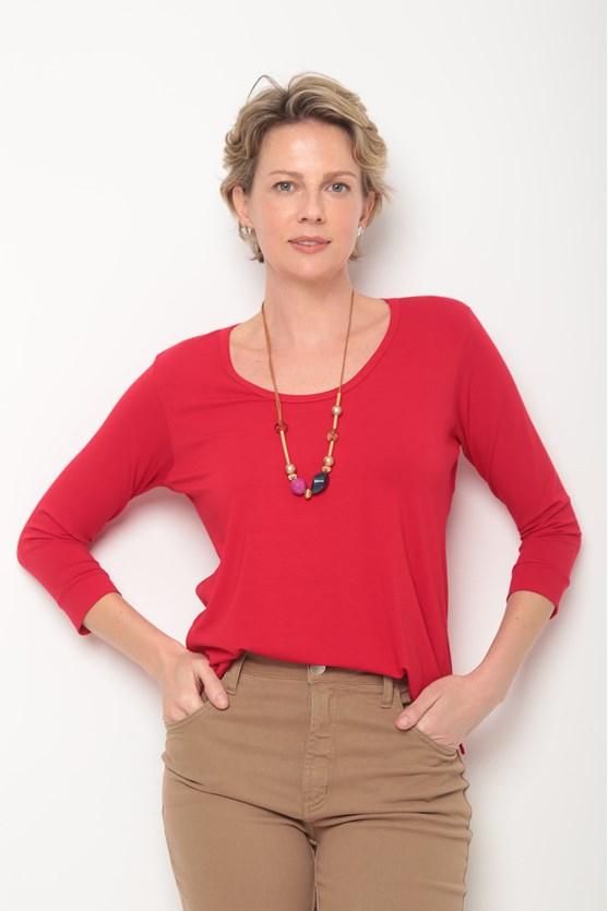 Blusa decote u manga 3/4 vermelho