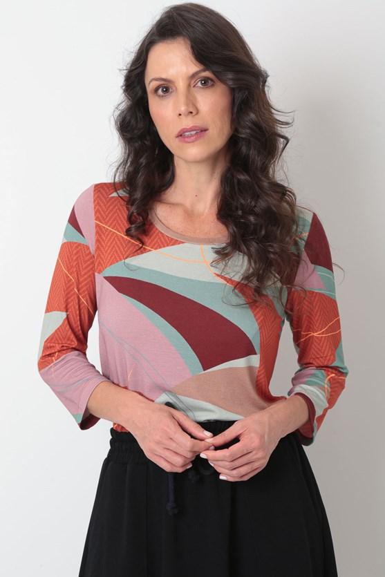 Blusa decote u manga 3/4 viscolycra formas vd matcha