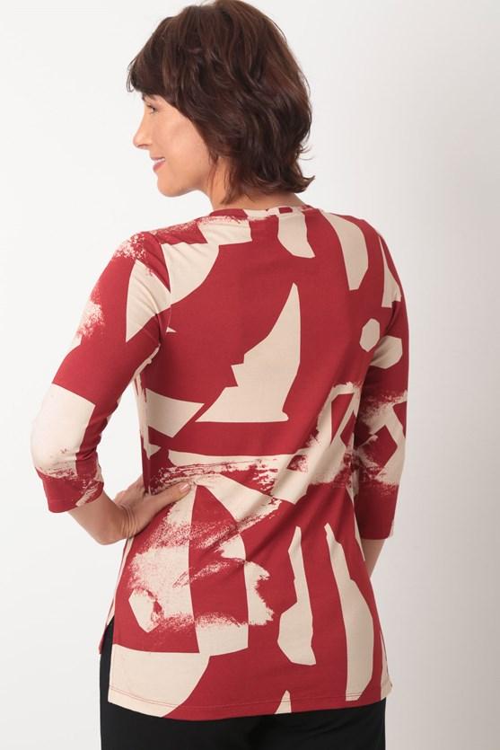 Blusa decote u manga 3/4 viscolycra formas vn florir