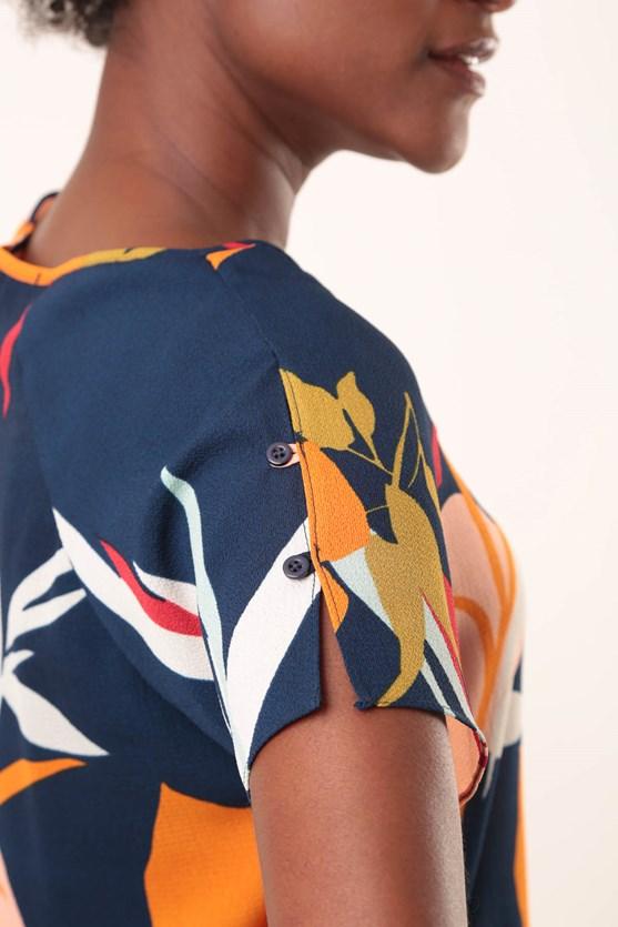 Blusa decote u manga botões folhas abstratas azul marinho