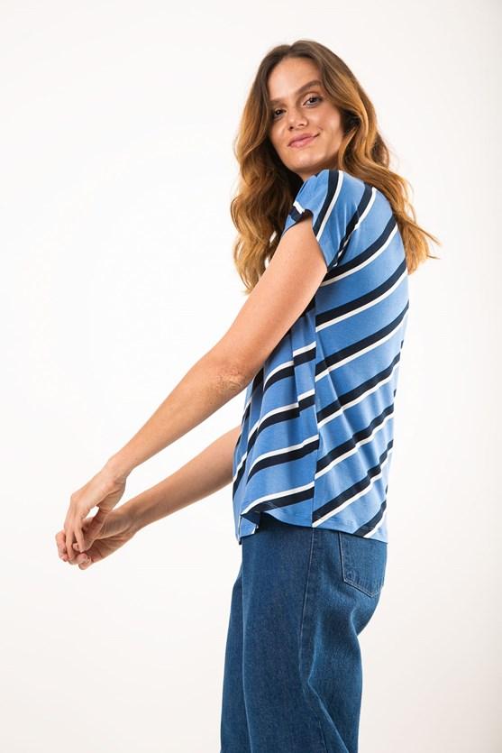 Blusa decote u manga curta viscolycra listra vertical az verão