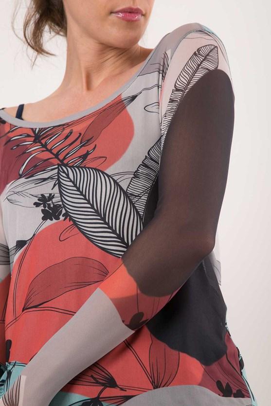 Blusa decote u manga longa tule harmonia lj energia