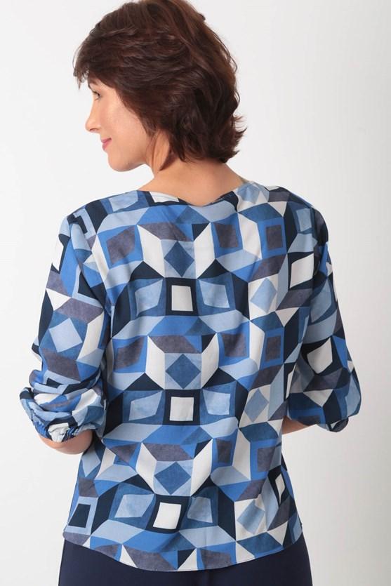 Blusa decote v amarração viscose prisma azul marinho