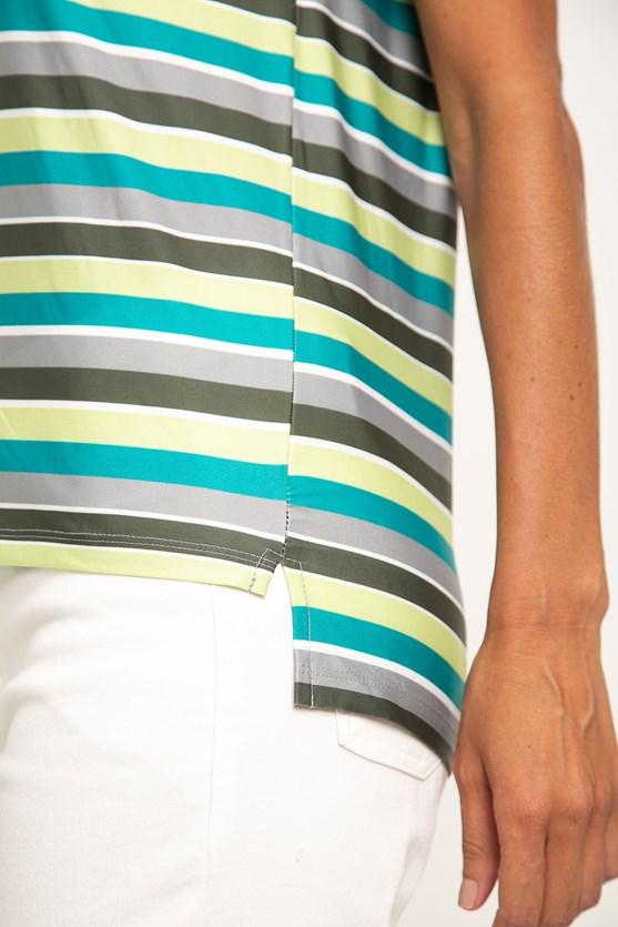 Blusa decote v aplicado manga curta jersey listrado vd militar