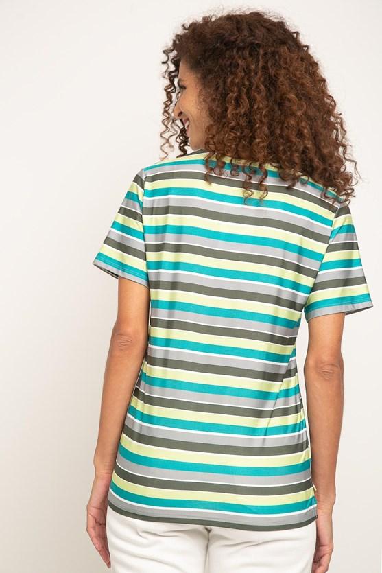 Blusa decote v aplicado manga curta jersey listrado verde militar