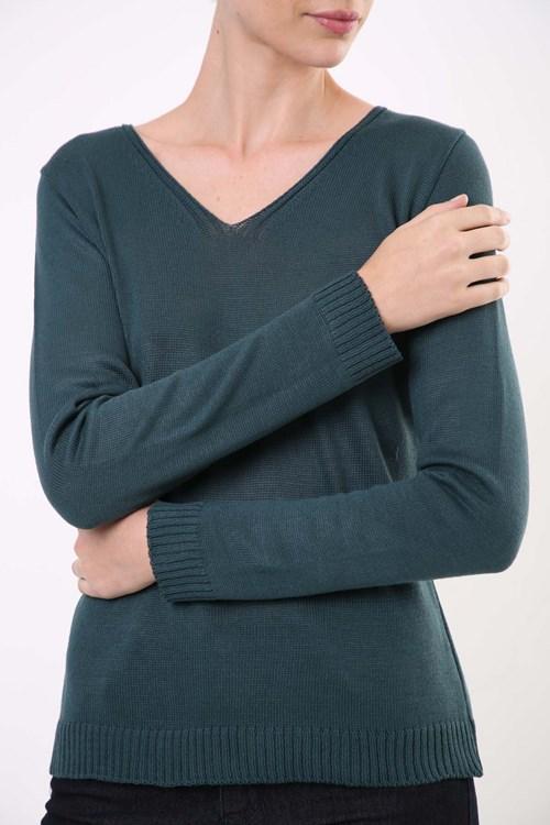 Blusa Decote V Básica Tricot