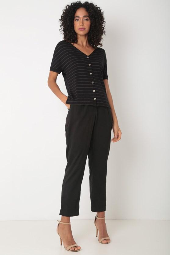 Blusa decote v botões malha lurex preto
