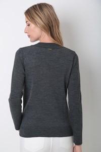 Blusa Decote V Canelado Tricot