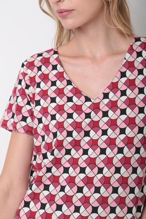 Blusa Decote V Círculos