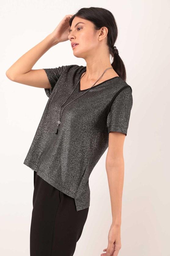 Blusa Decote V Cobre Costuras Malha Lurex