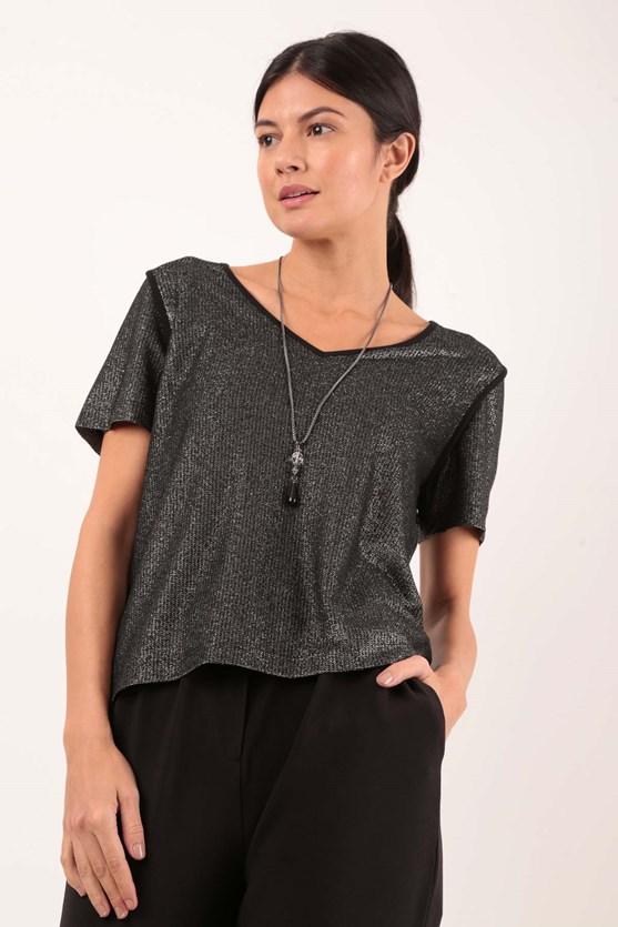 Produto Blusa Decote V Cobre Costuras Malha Lurex