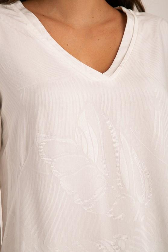 Blusa Decote V Com Vivo Viscose Maquinetada